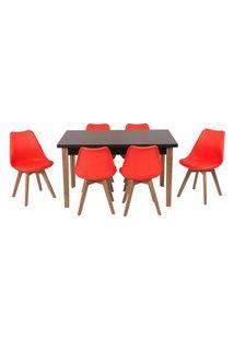 Conjunto Mesa De Jantar Luiza 135Cm Preta Com 6 Cadeiras Leda - Vermelho