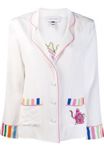 Mira Mikati Camisa Polo Com Lista Na Barra - Branco
