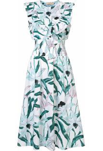 Tory Burch Vestido Floral Com Babados - Colorido