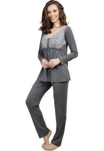 Pijama Inspirate Gestante Inverno Feminino - Feminino-Chumbo