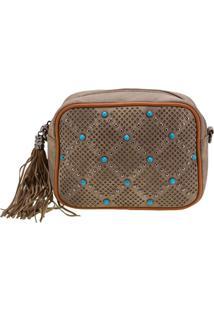 Bolsa Feminina Transversal Arara Dourada - Lt8148 Taupe
