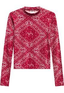 Blusa Lecimar Em Viscose Com Elastano Outono Inverno Manga Longa Vermelho Escuro