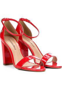 Sandália Em Verniz Raphaella Booz Salto Grosso - Feminino-Vermelho