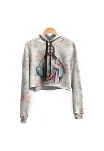 Blusa Cropped Moletom Feminina Over Fame Jesus Floral Md01