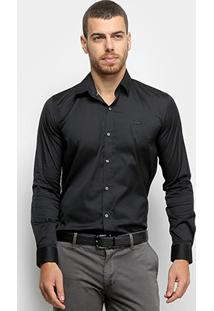 Camisa Lacoste Slim Fit Com Logo Masculina - Masculino-Preto