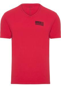 Camiseta Masculina Manga Curta Bandeira Calvin - Vermelho