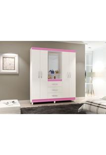 Guarda-Roupa Capelinha New 4 Portas Branco E Rosa Notável Móveis Branco/Rosa