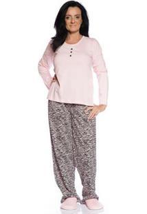 Pijama De Inverno Villa Enzo Feminino Longo Em Algodão - Feminino-Rosa