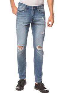 Calça Jeans Five Pockets Skinny - Azul Claro - 46