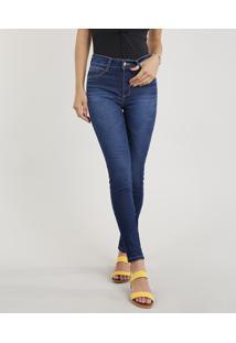 589cc84f1 CEA. Calça Algodão Elastano Jeans Poliester Embutir Decorativo Skinny Zíper Feminina  Sawary Azul Médio Super
