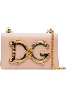 Dolce & Gabbana Bolsa Tiracolo Dg Girls De Couro Com Aplicação De Logo - Rosa