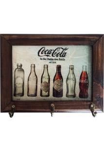 Porta Chaves Retrô Coca-Cola - Madeira - 3 Ganchos