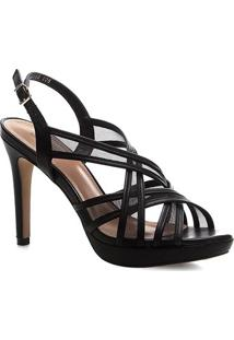 Sandália Shoestock Couro Tela Meia Pata - Feminino-Preto