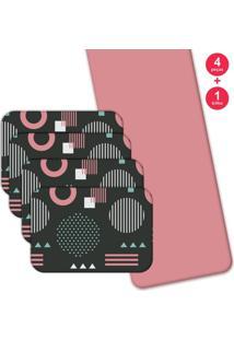 Jogo Americano Love Decor Com Caminho De Mesa Geometric Pink Kit Com 4 Pçs + 1 Trilho - Kanui