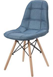 Cadeira Eames Estofada Linho Azul Base Madeira - 43056 - Sun House