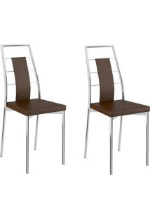 Kit 2 Cadeiras 1718 Cacau/Cromado - Carraro Móveis