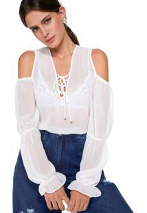 Blusa Amaro De Chiffon Recorte Ombro Off-White - Branco - Feminino - Dafiti