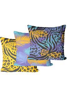 Kit Com 3 Capas Para Almofadas Animal Print 45X45Cm - Multicolorido - Dafiti