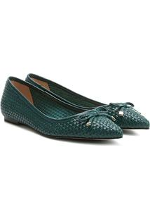 Sapatilha Couro Shoestock Tressê Feminina - Feminino-Azul Petróleo