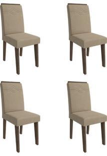 Conjunto Com 4 Cadeiras De Jantar Taís I Suede Marrocos E Caramelo
