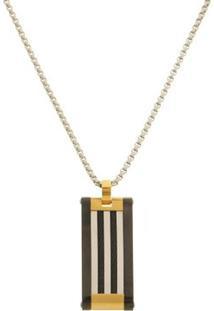 Pingente Placa Black Gold Com Cabo Náutico Tudo Joias De Aço Inox Modelo Gourmet - Unissex-Dourado