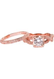 Anel Solitário Com Aparador The Ring Boutique Pedra Zircônia Ouro Rosé