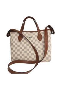 Bolsa Tiracolo Divina Luz Mini Bag Xadrez Offwhite.