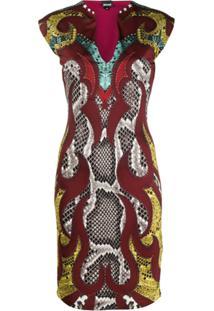 Just Cavalli Vestido Lápis Com Animal Print - Vermelho
