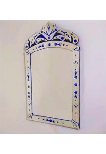 Espelho Veneziano Decorativo, Sala, Indiano Pequeno Plus Azul 50X90