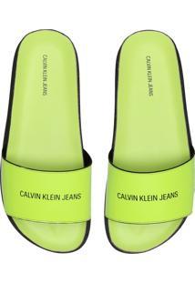 Chinelo Slide Couro Calvin Klein Neon Logo Verde