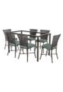 Jogo De Jantar 6 Cadeiras Turquia Tabaco A09 E 1 Mesa Retangular Sem Tampo Ideal Para Área Externa Coberta