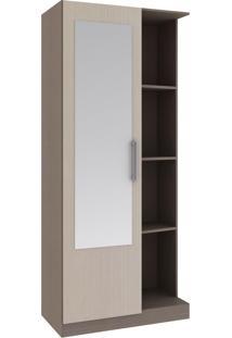 Armário Multiuso 1 Porta 3 Prateleiras 15Mu1004 C/ Espelho Carval/Palha - Rodial