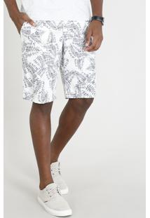 Bermuda Masculina Estampada De Folhagem Com Cordão Off White
