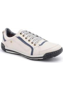 Sapatênis D&R Shoes Em Couro Masculino - Masculino-Off White