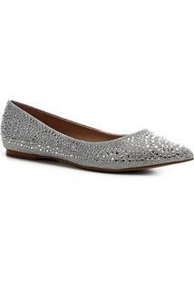 Sapatilha Shoestock Noiva Lurex Cristais Feminina - Feminino-Prata