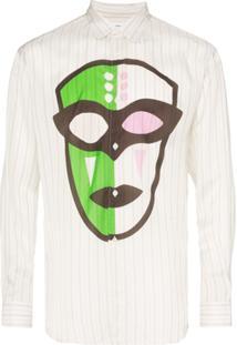 Comme Des Garçons Shirt Camisa Listrada Com Estampa De Máscara - Neutro