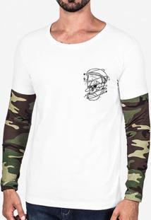 Camiseta Skull Manga Camuflada 102672
