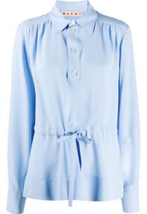 Marni Blusa Franzida Com Amarração Na Cintura - Azul