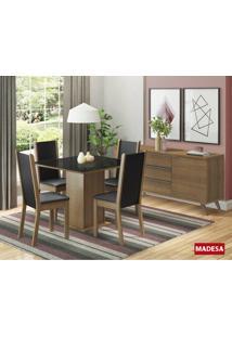Conjunto De Mesa Madesa Anis Com 4 Cadeiras Rustic/Preto Se