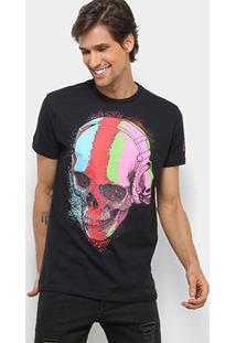 Camiseta Bulldog Fish Caveira Colors Masculina - Masculino-Preto