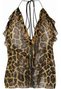 Saint Laurent Blusa Marrom Com Estampa De Leopardo E Tachas