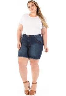 Shorts Jeans Com Puídos E Desfiado Plus Size Feminino - Feminino-Azul