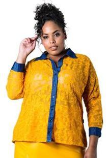 Camisa Plus Size De Renda Lenner Plus Feminina - Feminino-Amarelo