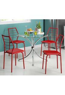 Mesa 375-Cromada-Com 4 Cadeiras 1716-Vermelha-Carraro