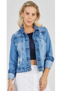 Jaqueta Jeans Express Lorena Feminina - Feminino-Azul