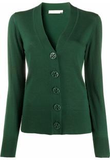 Tory Burch Simone Merino Wool Cardigan - Verde