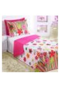 Jogo Cobre Leito Infantil Juvenil Solteiro Rosa Estampado Floral 2 Peças