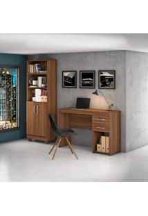 Conjunto Para Escritório Com Escrivaninha E Estante Livreiro Office Iara Siena Móveis Rovere