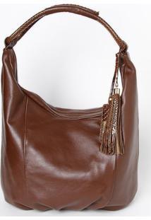 Bolsa Em Couro Com Bag Charm- Marrom Escuro- 30X34X1Edu Bolsas