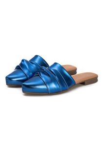 Sapatilha Mule Slip Feminino Confort Bico Fino Azul Metalizado